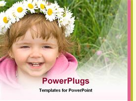 PowerPoint template displaying sweet baby girl looking up and smiling