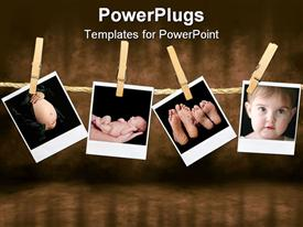 PowerPoint template displaying depictions of pregnant woman belly, newborn held on hands, family feet and infant face held by wooden clothespins on a rope on a vintage background