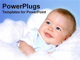 PowerPoint template displaying a close up view of a cute smiling chubby baby on a white surface