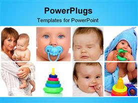PowerPoint template displaying eight tiles showing a mother and her baby with toys