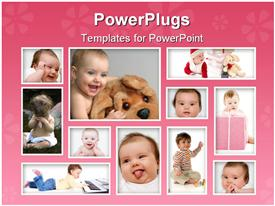 PowerPoint template displaying eleven tiles with different baby pictures with funny facial expressions
