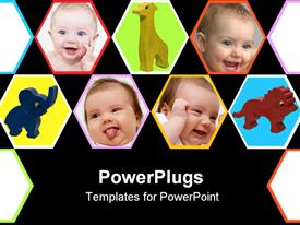 PowerPoint template displaying collage with happy newborn baby smiling faces and toys