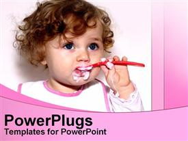 PowerPoint template displaying cute baby eating food