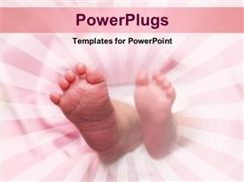 PowerPoint template displaying new-born baby's feet wrapped in a pink blanket