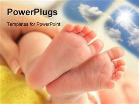 PowerPoint template displaying a newly born child feet held by his mother