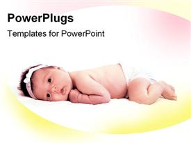 PowerPoint template displaying little baby girl in light glow