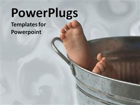 PowerPoint template displaying baby's feet showing from aluminium bucket on white background