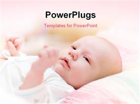 PowerPoint template displaying baby Lie In Cradle And Look Forward in the background.