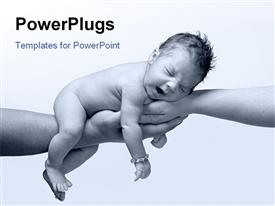 PowerPoint template displaying newborn baby in black and white yawning and being held by both parents hands