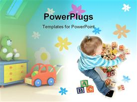 PowerPoint template displaying toddler girl surrounded with several toys, alphabetical blocks, teddy bear