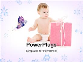 PowerPoint template displaying depiction of baby boy in diaper with big gift box in the background.