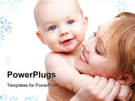 PowerPoint template displaying angelic baby and his mother
