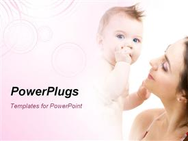 PowerPoint template displaying depiction of happy mother with baby over white in the background.