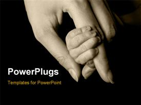 PowerPoint template displaying an adult female hand holding a littile baby's hand