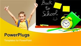 Back to school concept colorful accessories in the classroom powerpoint theme