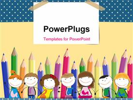 PowerPoint template displaying colorful crayons in background with happy kids lined up