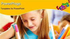 PowerPoint template displaying lovely girl drawing in copybook at lesson