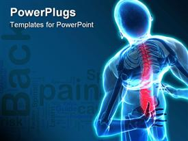 PowerPoint template displaying back pain skeleton nervous human body blue background