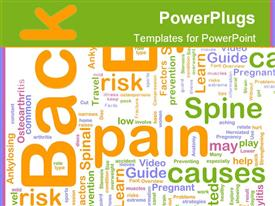 PowerPoint template displaying word cloud concept back pain