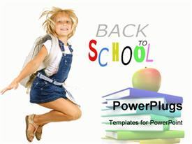 Back to School. Happy Pupil Jumping powerpoint template