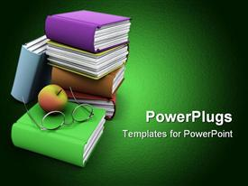 PowerPoint template displaying of an apple and books in the background.