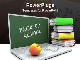 PowerPoint template displaying back to school laptop with apple, glasses and books, teacher, teaching, education