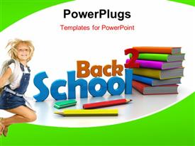 PowerPoint template displaying little girl with colorful book pile and learning tools