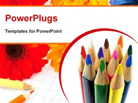 PowerPoint template displaying a collection of color pecils with flowers in the background
