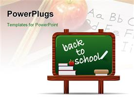 PowerPoint template displaying back to school chalkboard with stack of books and apple in the background.