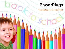PowerPoint template displaying smiling little kid with colored pencils and text back to school
