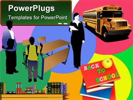 PowerPoint template displaying back to school. Colored depiction for designers