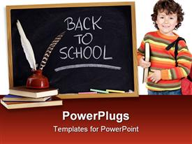 Back to school retro concept - white chalk handwriting on blackboard stack of old books powerpoint template