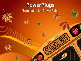 Back to School in September with school bus and autumn leaves template for powerpoint