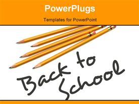 PowerPoint template displaying back to school depiction with pencils and text on white surface