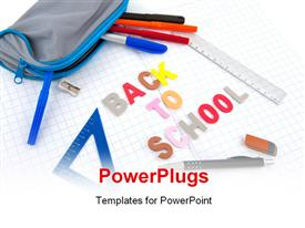 PowerPoint template displaying back to school written in exercise book in the background.