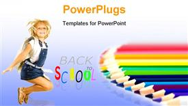 PowerPoint template displaying a kid happy because of being back in school
