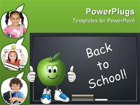 PowerPoint template displaying education school theme with back to school on blackboard chalkboard with chalk happy apple, three apple shapes depicting students pupils child holding books