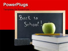 Chalkboard apple and textbooks template for powerpoint