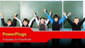 Cheerful schoolchildren at a classroom. Education powerpoint template