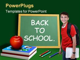 PowerPoint template displaying young lad with backpack, red apple on book pile and chalkboard