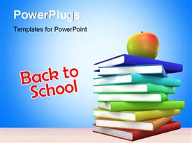 PowerPoint template displaying back to School concept with colored 3D Books and an Apple over it.