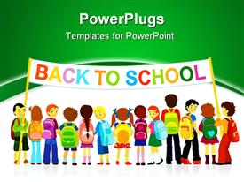 Group of elementary school pupils standing with large banner powerpoint design layout