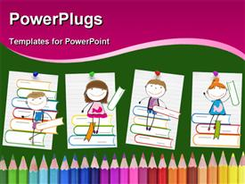 PowerPoint template displaying drawings of smiling children sitting on books above colored pencils