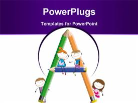 PowerPoint template displaying happy kids and letter A with crayons