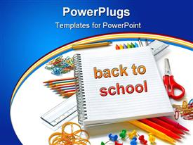 PowerPoint template displaying office and student gear in the background.
