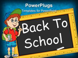 PowerPoint template displaying animated figure of a boy dressed for school with a chalk board
