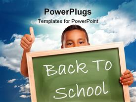 PowerPoint template displaying proud Hispanic Boy Holding Blank Chalkboard Over Blue Sky and Clouds with Sun Rays in the background.