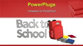 PowerPoint template displaying rendering conceptual depiction Back to School in the background.