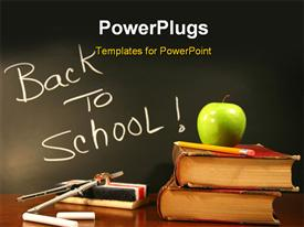 PowerPoint template displaying school books with apple and chalk eraser on desk