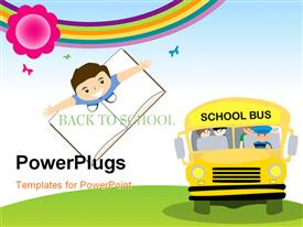 PowerPoint template displaying yellow school bus transporting children to school with kid standing on notebook